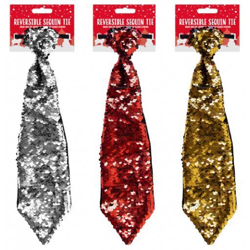 Gem Reversible Sequin Tie - Assorted Colours
