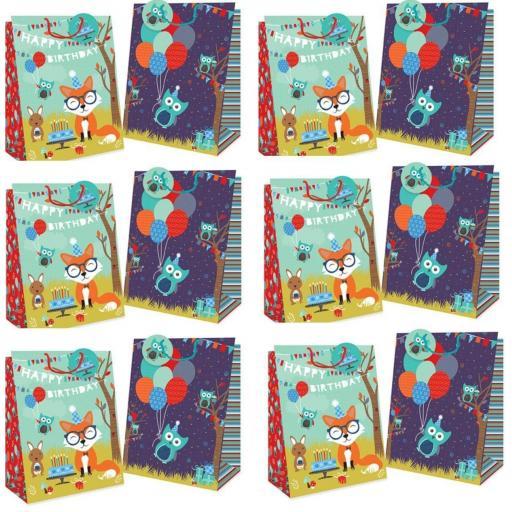 Tallon Gift Bags Woodland Design, Medium - Pack of 12
