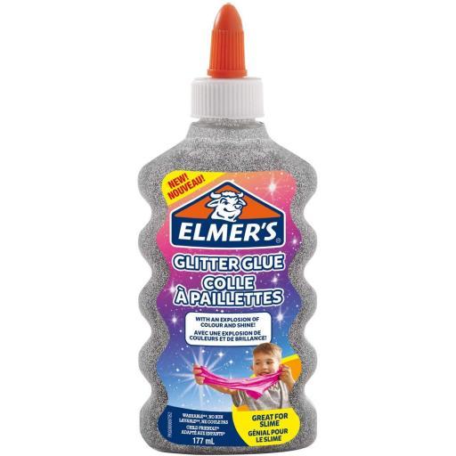 Elmers Glitter Glue 177ml, Great for Making Slime - Silver