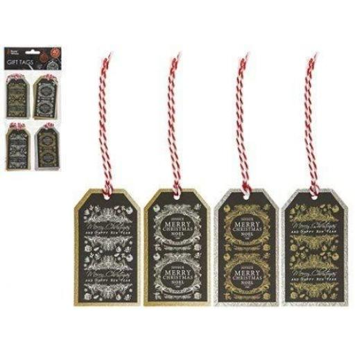 PMS Snow White Gift Tags Merry Christmas Gold & Silver - Pack of 40