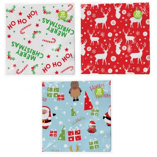 Gem Christmas 33x33cm Napkins 3ply , Assorted Designs - Pack of 20