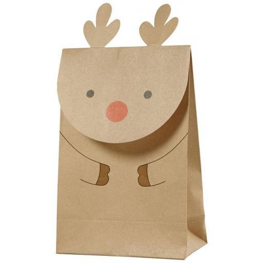 Gift Deco Brown Paper Lunch Bag, Reindeer - Pack of 6