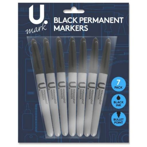 U. Bullet Tip Permanent Markers, Black Ink - Pack of 7