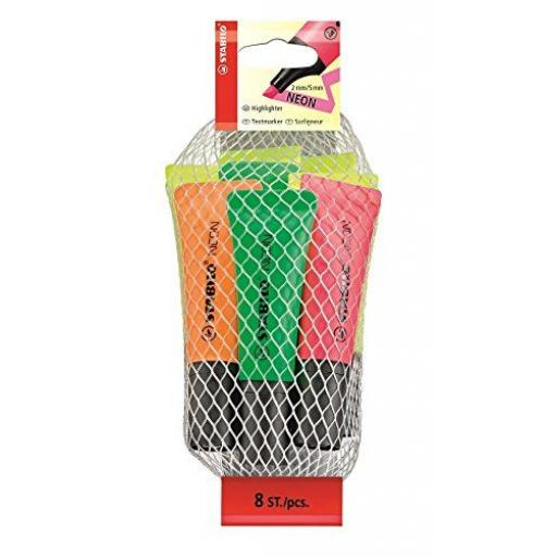 Stabilo Neon Highlighter Pens - Pack of 8