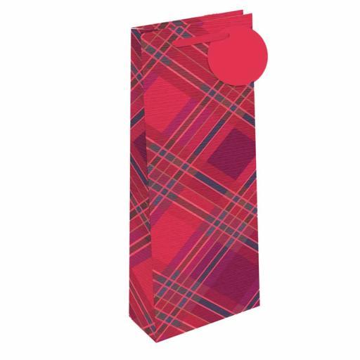 Tallon Bottle Gift Bags, Red Tartan - Pack of 12
