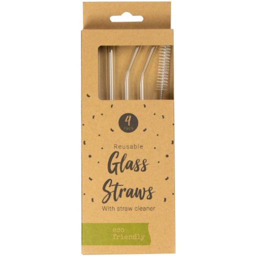 Pop Party Eco Friendly Reusable Glass Straws - Pack of 4