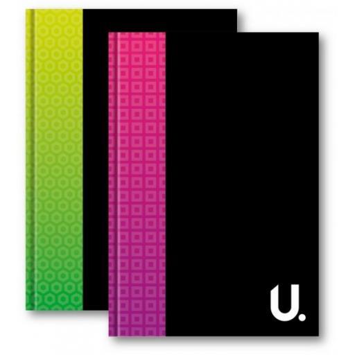 U. A4 Hardback Ruled Notebook Pink or Green - 100pg