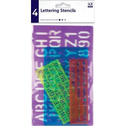 IGD Lettering Stencil Set - Pack of 4