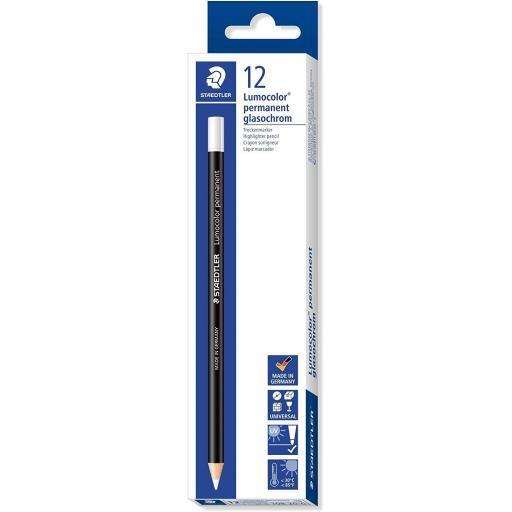 Staedtler Lumocolor Permanent Glasochrom Pencil, White - Box of 12