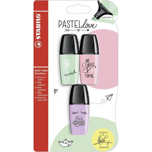 Stabilo Boss Mini Pastellove Highlighter Pens - Pack of 3 (PGP)