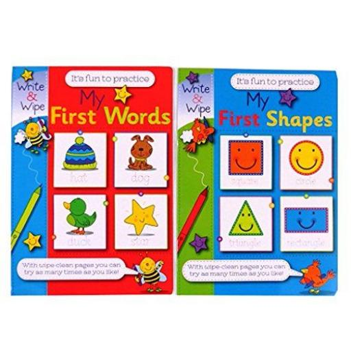 Write & Wipe A4 My First Words & Shapes Books - Set of 2
