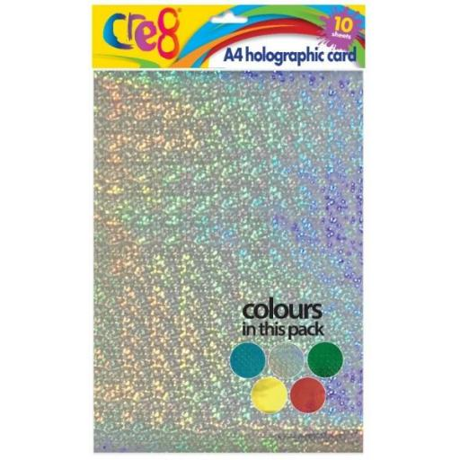 Cre8 A4 Holographic Card, Assorted Colours - 10 Sheets