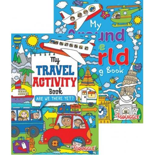 Squiggle My Travel/Around World Colouring & Puzzle Books - Set of 2