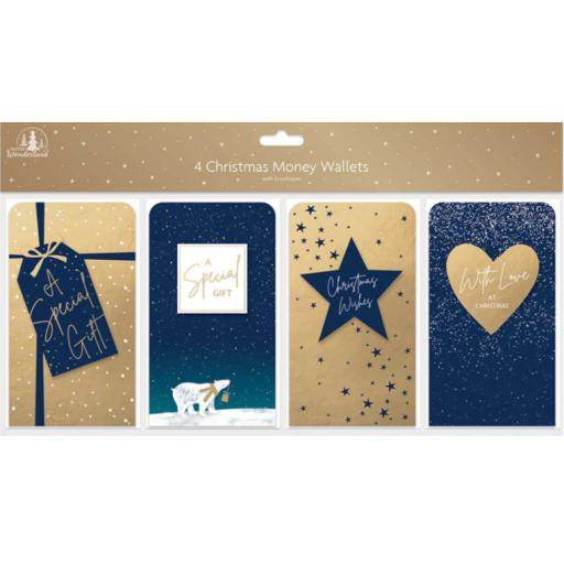 Tallon Christmas Money Wallets Gold & Navy Designs - Pack of 4