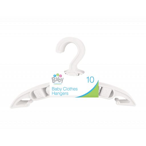 Baby Clothes Hangers, White - Pack of 10