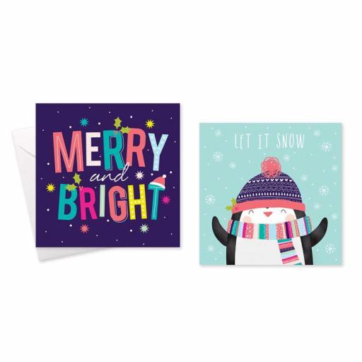 Festive Wonderland Square Christmas Cards, Bright Text/Penguin - Box of 10