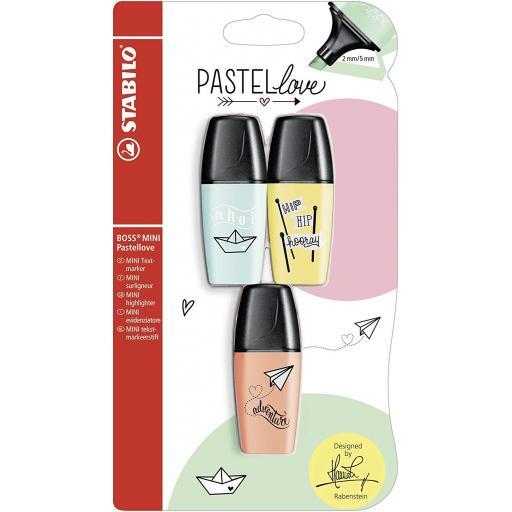 Stabilo Boss Mini Pastellove Highlighter Pens - Pack of 3 (BYO)