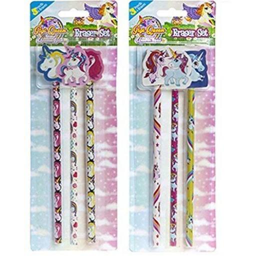 PMS Unicorn Pencils with Eraser Top - Pack of 3
