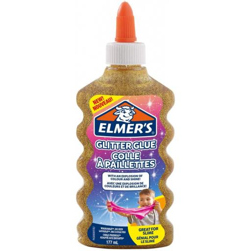 Elmers Glitter Glue 177ml, Great for Making Slime - Gold