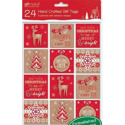 Giftmaker Collection Handcrafted Gift Tags, Contemporary - Pack of 24