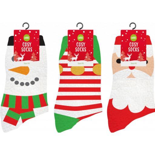 Gem Ladies Cosy Chrismas Socks, Sizes 4-8 - Assorted Designs