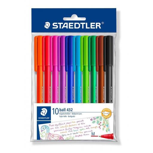 Staedtler Ballpoint Pen Medium - Assorted Colours, Pack of 10
