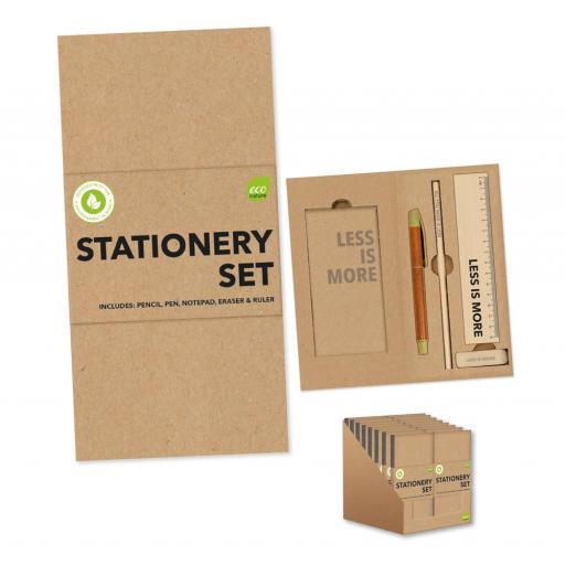 IGD Eco Stationery Set in Cardboard Holder