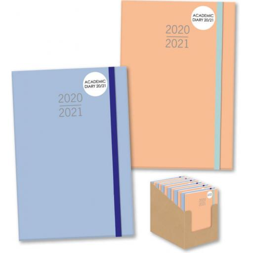 IGD A5 Academic Diary 20/21 Orange/Blue Hardback Assorted Designs