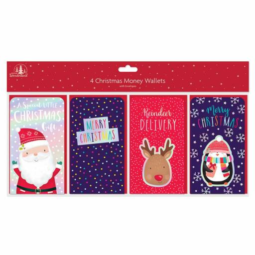 Tallon Christmas Money Wallets Cute Designs - Pack of 4