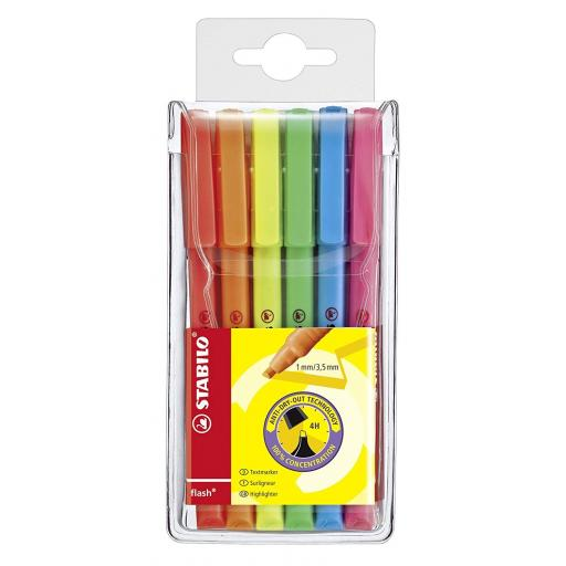 Stabilo Flash Neon Highlighter Pens - Pack of 6