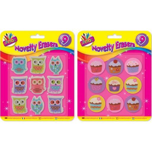 Artbox Owl & Cupcake Erasers - Pack of 9