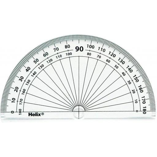 Helix 180 Degree Clear Protractor - Pack of 10
