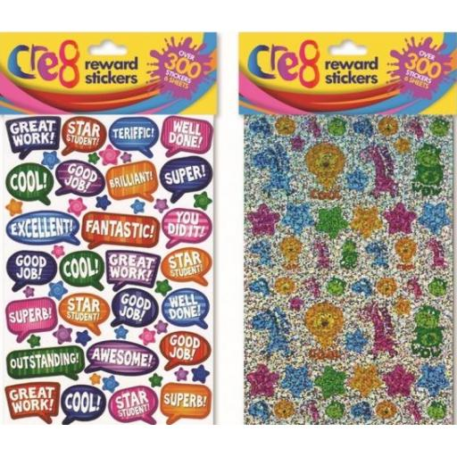 Cre8 Assorted Reward Stickers Animals & Slogans - Over 300 Stickers