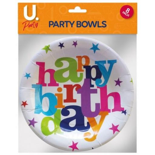 U.Party - Happy Birthday Paper Bowls - Pack of 8