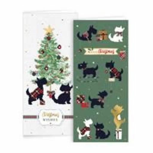 IGD Slim Christmas Cards Scottie Dogs - Box of 10