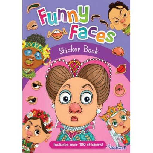 Squiggle Funny Faces Sticker Book - Girls Designs