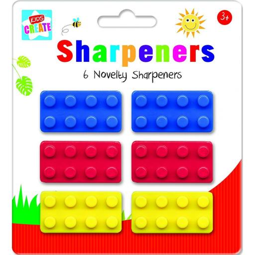 Kids Create Novelty Brick Sharpeners - Pack of 6