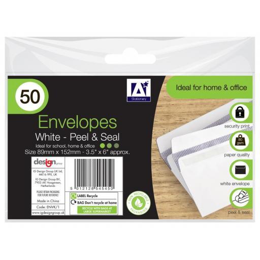 IGD White Peel & Seal 3.5x6 Inch Envelopes - Pack of 50