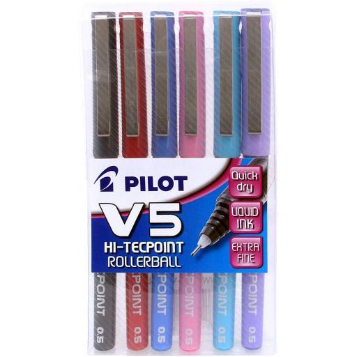 Pilot V5 Tecpoint 0.5mm Rollerball Pens - Pack of 6