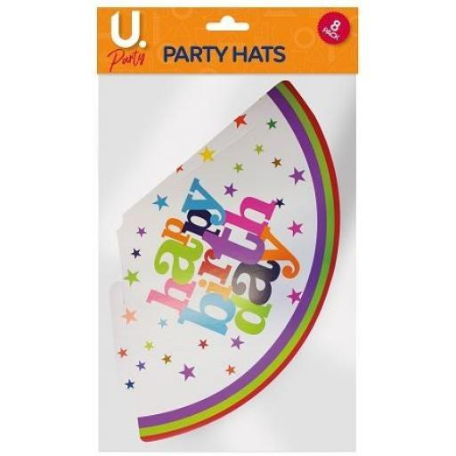 U.Party - Happy Birthday Party Hats - Pack of 8