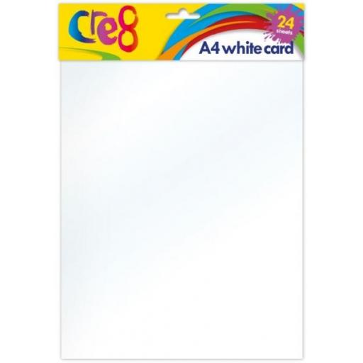 Cre8 A4 White Card - 24 Sheets