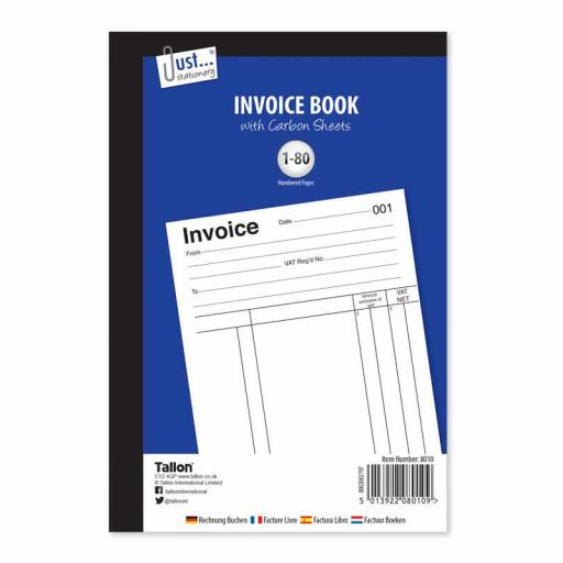 JS Invoice Book Full Size with Carbon Sheets - 80 Sets