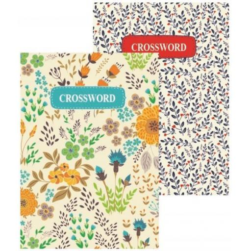 Squiggle A5 Floral Travel Crossword Puzzle Books - Set of 2