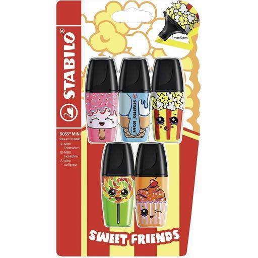 Stabilo Boss Mini 'Sweet Friends' Highlighter Pens - Pack of 5