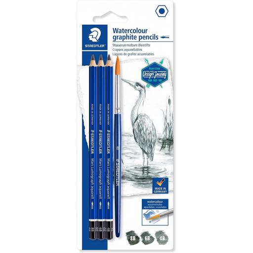 Staedtler Watercolour Graphite Pencils & Paint Brush - Pack of 4