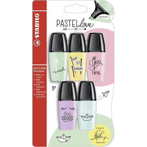 Stabilo Boss Mini Pastellove Highlighter Pens - Pack of 5