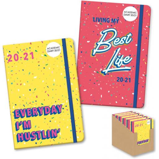 IGD A5 Academic Diary Best Life/Hustling 20/21 Assorted Designs