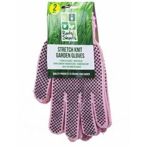 PMS Stretch Knit Gardening Gloves, Pink - Pack of 2 Pairs