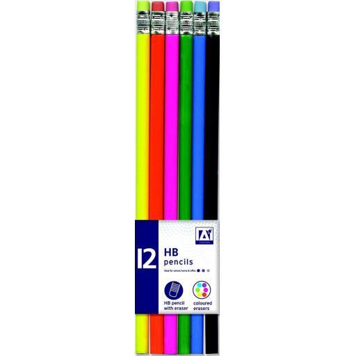 IGD Neon Barrel Eraser Tipped HB Pencils - Pack of 12