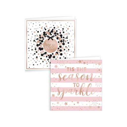 IGD Square Rose Gold Sparkle Christmas Cards - Box of 12
